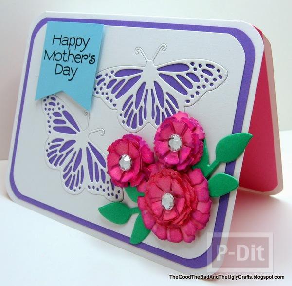 รูป 2 ไอเดียทำการ์ดวันแม่ ผีเสื้อบินรอบดอกไม้