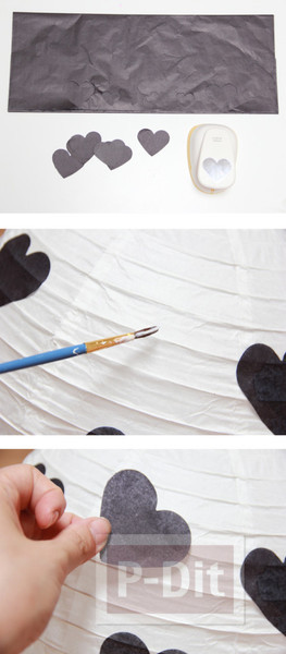 รูป 2 โคมไฟกระดาษ ตกแต่งลายหัวใจกระดาษ
