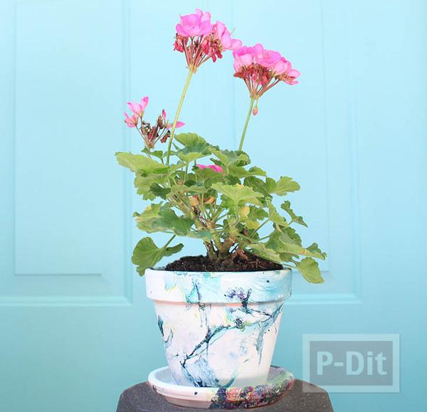รูป 3 กระถางดอกไม้ ตกแต่งสีสวย ด้วยสีทาเล็บ