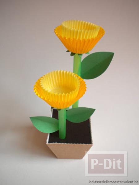 รูป 1 ดอกไม้ประดิษฐ์ ทำจากถ้วยกระดาษ คัพเค้ก