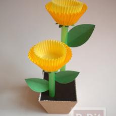 ดอกไม้ประดิษฐ์ ทำจากถ้วยกระดาษ คัพเค้ก