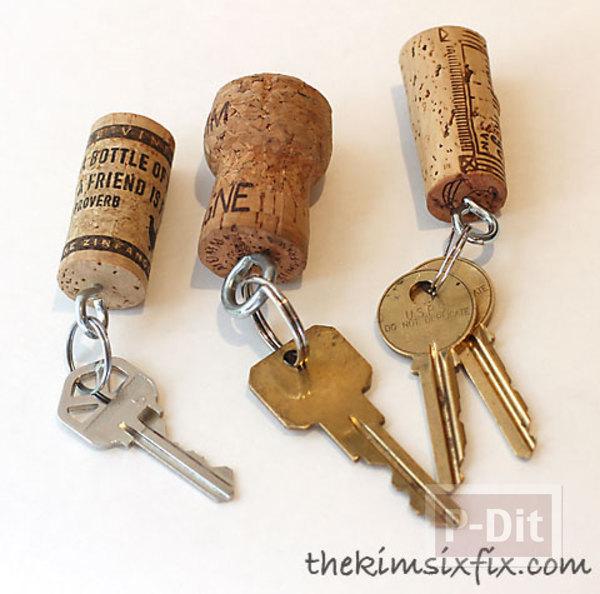 พวงกุญแจ ทำจากจุกก๊อก ปิดขวดไวน์