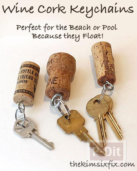 รูป 7 พวงกุญแจ ทำจากจุกก๊อก ปิดขวดไวน์