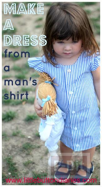 เย็บชุดเดรสเด็ก จากเสื้อทำงานพ่อ