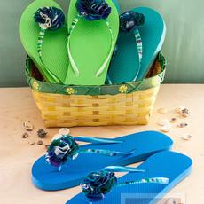 รองเท้าแตะ ประดับดอกไม้ ตกแต่งสีทาเล็บ