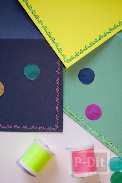 รูป 2 ซองจดหมาย เย็บลายสวย จากจักรเย็บผ้า