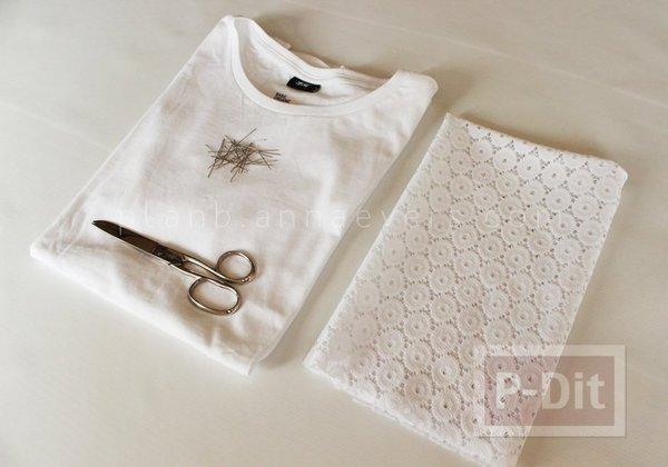 รูป 2 เสื้อยืด ตกแต่งสวย ด้วยผ้าลูกไม้
