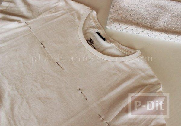รูป 3 เสื้อยืด ตกแต่งสวย ด้วยผ้าลูกไม้