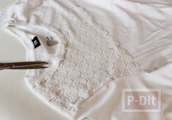 รูป 6 เสื้อยืด ตกแต่งสวย ด้วยผ้าลูกไม้
