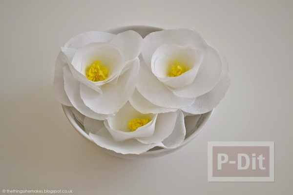 รูป 5 ดอกไม้กระดาษสีขาว เกสรสีเหลือง