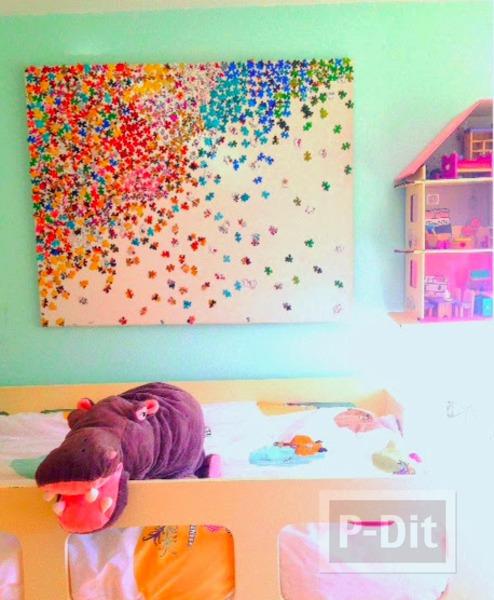 รูป 1 กรอบรูปตกแต่งผนังห้อง ประดับจากจิ๊กซอเก่าๆ
