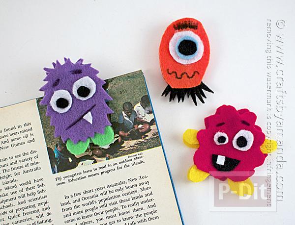 รูป 2 ทำที่คั่นหนังสือ ที่หนีบกระดาษ ลายสัตว์ประหลาด