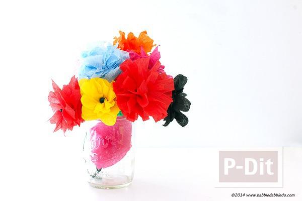 ดอกไม้สีสวย ทำจากกระดาษย่น