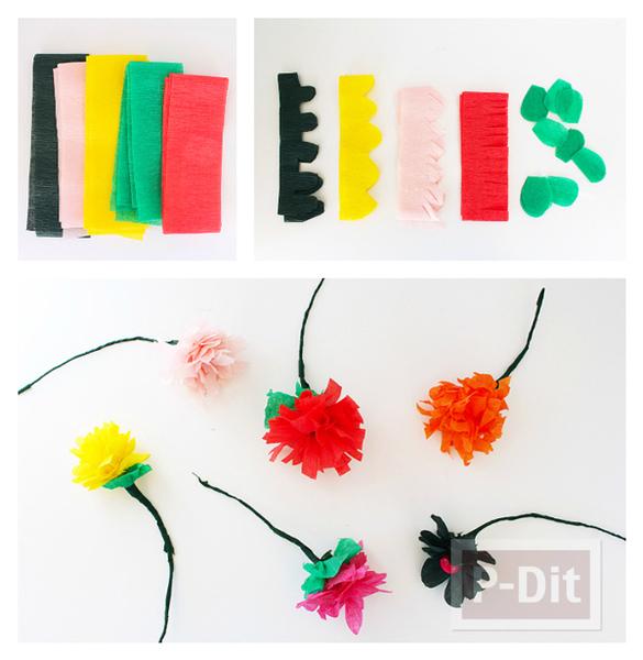 รูป 3 ดอกไม้สีสวย ทำจากกระดาษย่น