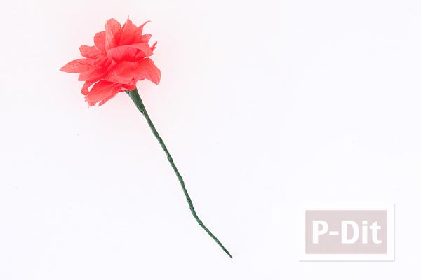 รูป 6 ดอกไม้สีสวย ทำจากกระดาษย่น