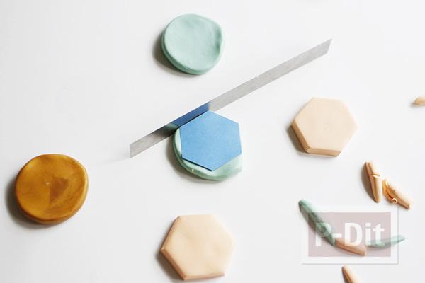 รูป 5 แม็กเน็ตติดตู้เย็น ลายหกเหลี่ยม ทำจากดินน้ำมัน