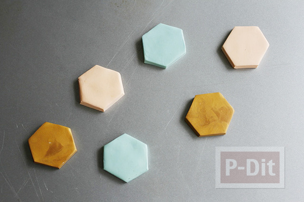 รูป 6 แม็กเน็ตติดตู้เย็น ลายหกเหลี่ยม ทำจากดินน้ำมัน