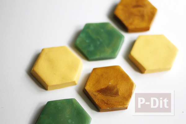 รูป 7 แม็กเน็ตติดตู้เย็น ลายหกเหลี่ยม ทำจากดินน้ำมัน