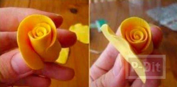 รูป 5 ดอกกุหลาบ ทำจากดินน้ำมัน