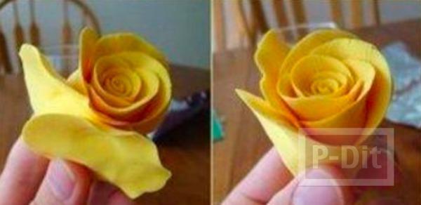 รูป 7 ดอกกุหลาบ ทำจากดินน้ำมัน