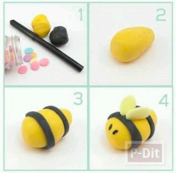 รูป 4 หนอน ผึ้ง เต่าทอง ปั้นจากดินน้ำมัน