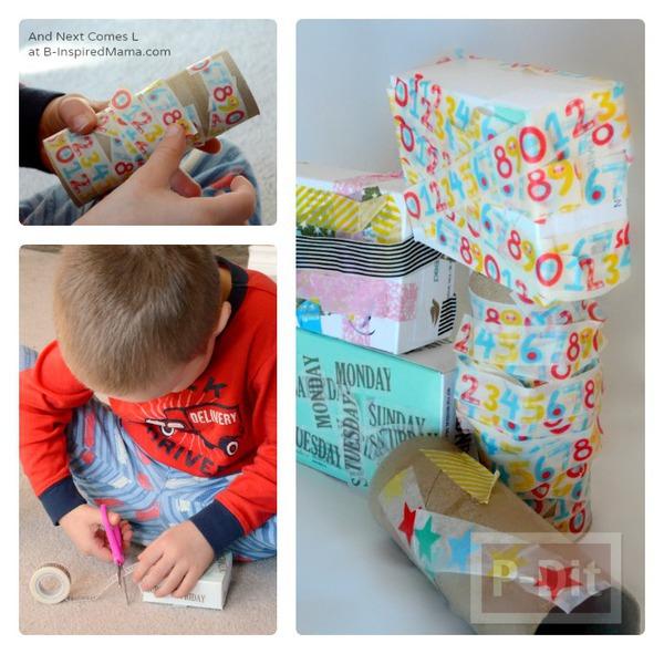 รูป 3 บล็อคต่อรูปทรง ทำจากแกนกระดาษ กล่องสบู่…