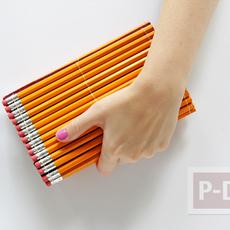 กระเป๋าถือสวยๆ ตกแต่งจากดินสอไม้ สีสวย