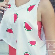 เสื้อยืด วาดลายแตงโม จากมันฝรั่ง