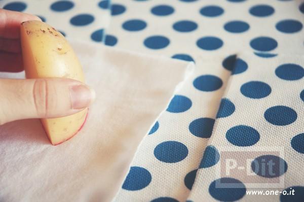 รูป 7 เสื้อยืด วาดลายแตงโม จากมันฝรั่ง
