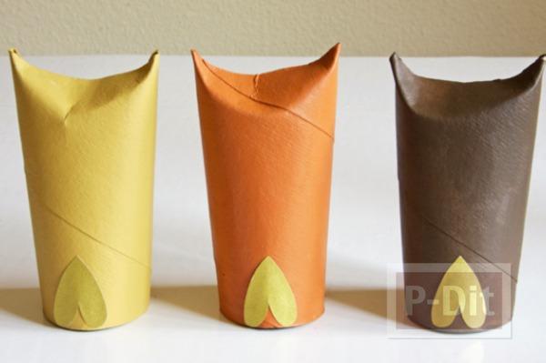 รูป 3 นกฮูกน่ารักๆ ทำจากแกนกระดาษทิชชู