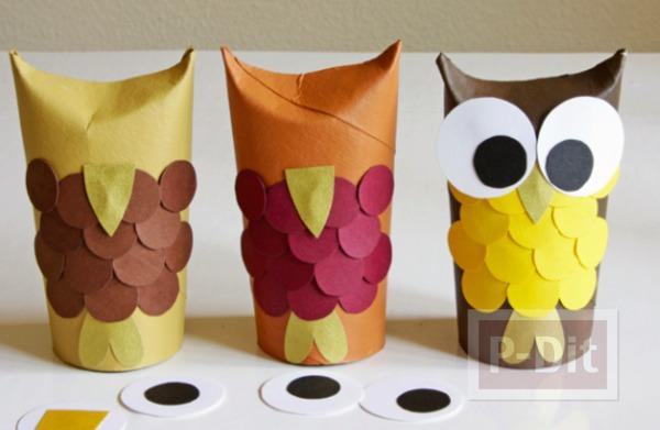 รูป 5 นกฮูกน่ารักๆ ทำจากแกนกระดาษทิชชู