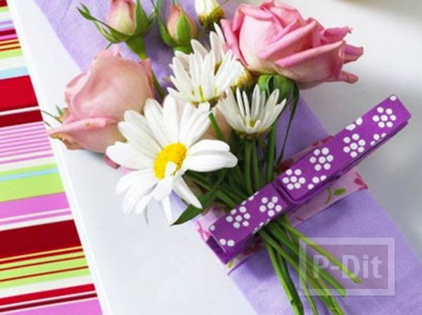 ช่อดอกไม้ ประดับสวยๆ ด้วยกิ๊บหนีบผ้า