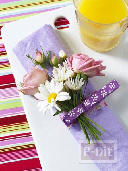 รูป 2 ช่อดอกไม้ ประดับสวยๆ ด้วยกิ๊บหนีบผ้า