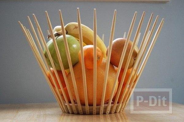 ตะกร้าใส่ผลไม้ ทำจากตะเกียบ