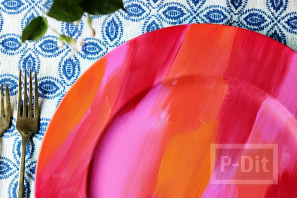 รูป 1 จานรองสีสวย ระบายสีน้ำ