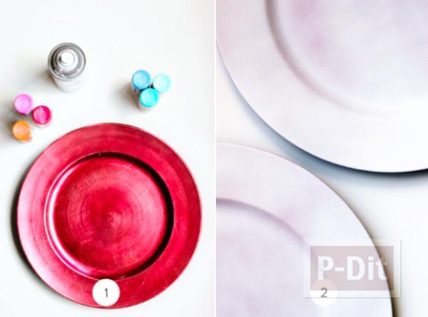 รูป 2 จานรองสีสวย ระบายสีน้ำ
