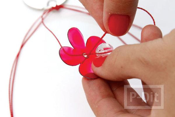 รูป 2 พวงกุญแจดอกไม้พลาสติก ประดับลูกปัด