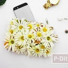กระเป๋าใบเล็กๆ ประดับดอกไม้ประดิษฐ์