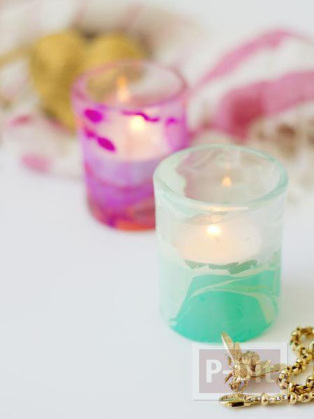 รูป 2 แก้วเทียน ตกแต่งลายสวย ด้วยสีทาเล็บ