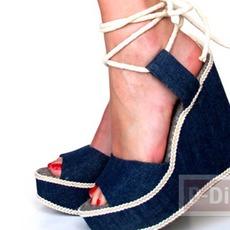 รองเท้ารัดส้น นำมาหุ้มผ้าสวย ประดับเชือกถักเปีย