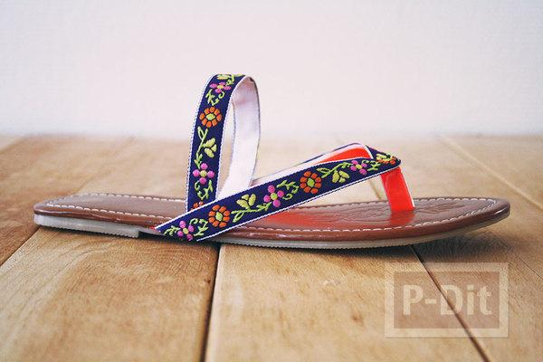 รองเท้าแตะ ตกแต่งสวย ด้วยริบบิ้นสีสด