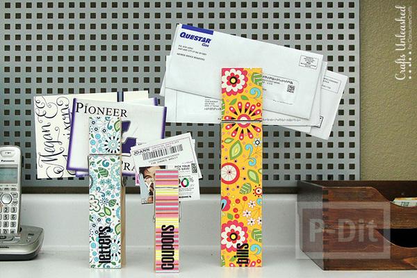 รูป 1 ประดิษฐ์ที่หนีบกระดาษ จากไม้หนีบผ้า ประดับกระดาษลายสวย