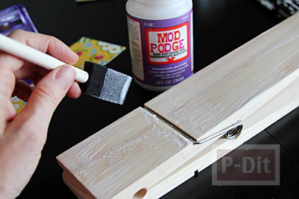 รูป 6 ประดิษฐ์ที่หนีบกระดาษ จากไม้หนีบผ้า ประดับกระดาษลายสวย