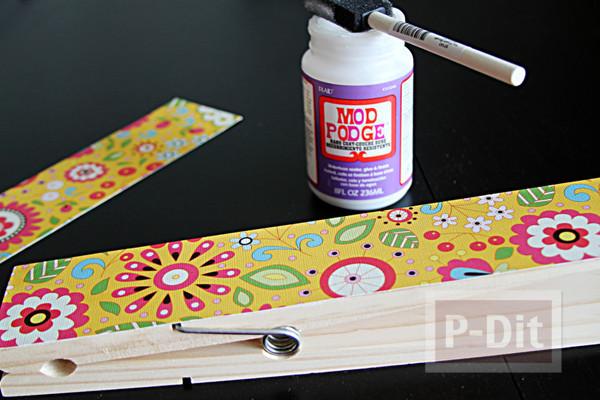 รูป 7 ประดิษฐ์ที่หนีบกระดาษ จากไม้หนีบผ้า ประดับกระดาษลายสวย