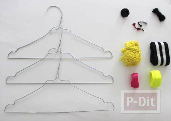 รูป 4 ไม้แขวนเสื้อตกแต่งลายสวย จากผ้า ไหมพรม…