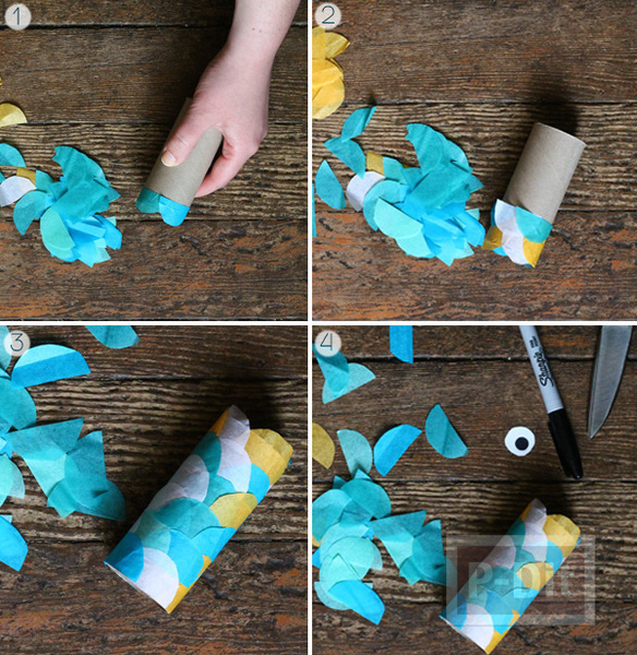 รูป 3 ตกแต่งปลาสีสวย จากกระดาษสีสดใส