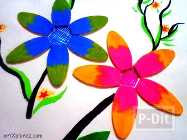 รูป 2 ดอกไม้สวยๆ ทำจากไม้ไอติม
