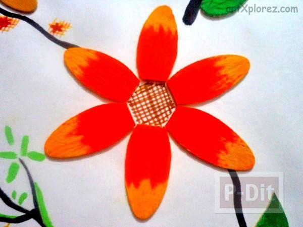 รูป 3 ดอกไม้สวยๆ ทำจากไม้ไอติม