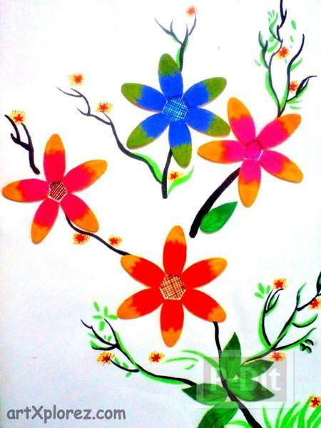 รูป 4 ดอกไม้สวยๆ ทำจากไม้ไอติม