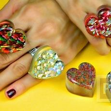 แหวนสวยๆ ทำจากสีเคลือบแก้ว ผสมกากเพชร
